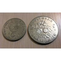 10 франков 1985 года и 20 франков 1999 года Французкая Полинезия (цена за 2 монеты)