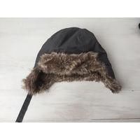 Стильная шапка ушанка для мальчика фирменная H&M с мехом 74