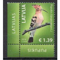 Птицы Латвия 2014 год 1 чистая марка