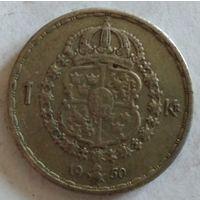Швеция 1 крона 1950 серебро