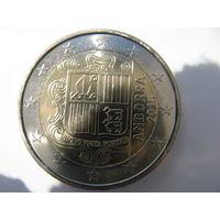 Андорра 2 евро 2015 г. UNC!