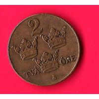 01-39 Швеция 2 эре 1929 г. Единственное предложение монеты этого года на АУ