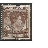 Стрейтс Селтментс. Король Георг VI. Пальмы. 1937г. Mi#215.