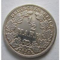 Германия. 1\2 марки 1914 A. Серебро . 103