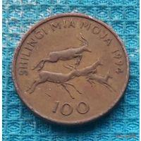 Танзания 100 шиллингов 1994 года. Восточная Африка. Стая антилоп.