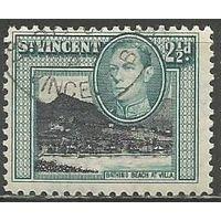 Сент-Винсент. Король Георг VI. Пляж в Вилле. 1938г. Mi#123.