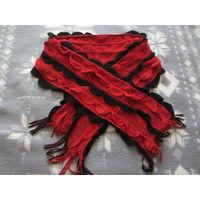 Шарф красно-черный ажурный теплый
