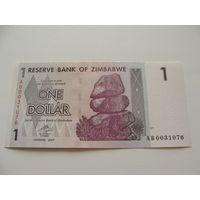 Зимбабве. 1 доллар 2007 год UNC
