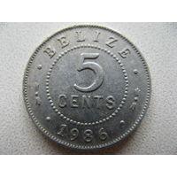 Белиз 5 центов 1986 г.