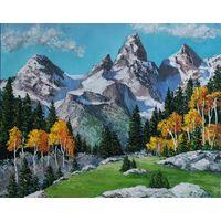 Картина маслом осенний горный пейзаж