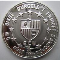 Андорра. 10 динеров (экю) 1995. Серебро. Пруф. 206