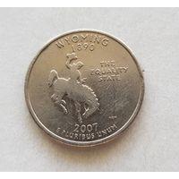 25 центов США 2007 г. штат  Вайоминг P