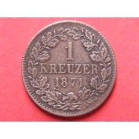 1 крейцер 1871 года Великое герцогство Баден