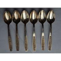 Оригинальные серебряные чайные ложечки, длинна 14 см.