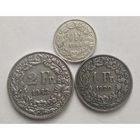 1/2 , 1 , 2 франка, Швейцария. 835 пр.,