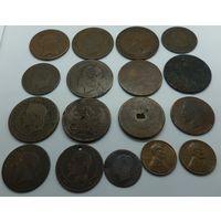 Лот медных и бронзовых монет 17 шт.