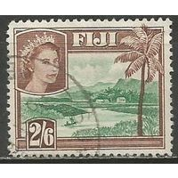 Фиджи. Королева Елизавета II. Речной ландшафт. 1954г. Mi#136.