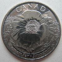 """Канада 25 центов 2015 г. 100 лет стихотворению """"На полях Фландрии"""""""