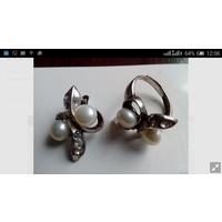 Серьги и кольцо с натуральным речным жемчугом. Бесплатная доставка.