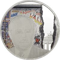 """Палау 5 долларов 2014г. """"Берлинская стена. М. Горбачёв; Г. Коль"""".  Монета в капсуле; деревянном подарочном футляре; сертификат; коробка. СЕРЕБРО 25гр."""