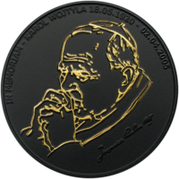 """Либерия 10 долларов 2005г. """"Иоанн Павел II"""". Монета в капсуле; подарочном футляре; сертификат. СЕРЕБРО 25 гр."""