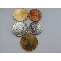 Танзания.набор 5 монет 5 10 20 50 сенти, 1 шиллинг  1975-1992 год