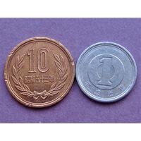 Япония 1 иена 1989 и 10 иен 1978