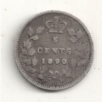 Канада 5 цент 1890