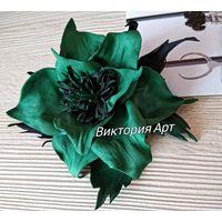 Брошь- цветок ''Тропический Изумруд'', новый