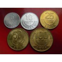 Коста-Рика набор 5 монет 2007-08 - 5, 10, 25, 50, 100 колон (UNC)