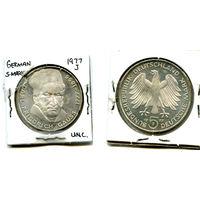 Германия 5 марок 1977 UNC буква J Германия (Карл Фридрих Гаусс серебро 11,2 гр)