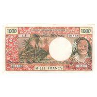 Новые Гебриды 1000 франков 1970 года. Тип P20а. Состояние aUNC+! Редкая!