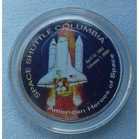 "США, 1 доллар ""Космический челнок Columbia""  в футляре, сертификат."