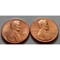 1 цент США 1989 г., AU