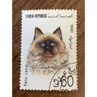 Йемен 1990. Домашние кошки. Felis catus. Марка из серии