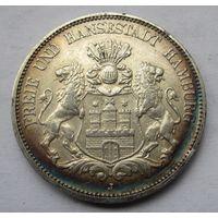 Германия, Гамбург, 5 марок, 1893, серебро
