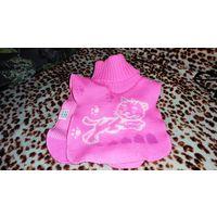Манишка розовая с котиком для девочек