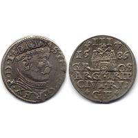 Трояк 1586, Стефан Баторий, Рига. Более редкий вариант с большим портретом, R