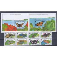 [1918] Гренада-Гренадины 1990. Фауна.Насекомые.Бабочки,жуки. СЕРИЯ+2 БЛОКА.