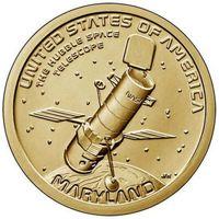 1 доллар 2020  США Серия Инновации Космический телескоп Хаббл. Мэриленд. двор Р UNC!