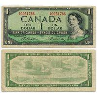 Канада. 1 доллар (образца 1954 года, P75b, Beattie-Rasminsky)