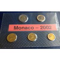 Монако 10, 20, 50 евроцентов, 1, 2 евро 2002 UNC