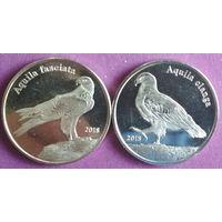 Шетландские острова 1 фунт 2018 Орлы, набор 2 монеты.