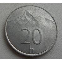 20 h Словакия 1993 г.в., KM# 18 20 HALIEROV, из коллекции