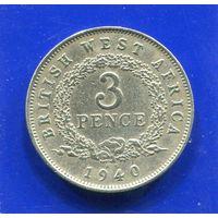 Британская Западная Африка 3 пенса 1940 KN