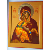 Рукописная икона Владимирской Божией Матери 30х40 см.