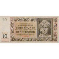 Чехословакия  10 крон\\протекторат богемия  и  моравия \\ 1942 г. унс