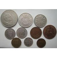 Великобритания 1 фартинг 1954, 1/2 пенни 1959, 1 пенни 1967, 3 пенса 1964, 6 пенсов 1965, 1 шиллинг 1955, 1963 (оба типа), 2 шиллинга 1955, 1/2 кроны 1967, 1 крона 1965 гг. Цена за комплект (u)