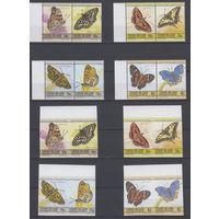 Фауна. Бабочки. О-в Юнион (Ст.Винцент). 1985. 8 марок с/з и 8 марок б/з (полная серия). Michel N 84-101