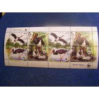 Фауна Птицы Черный аист. WWF Беларусь 2005 год (621-624) 1 малый лист